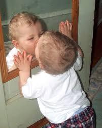 baby at mirror
